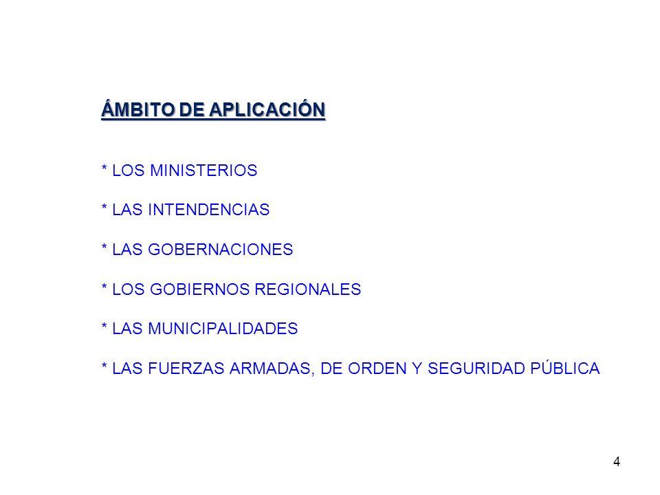 ÁMBITO DE APLICACIÓN * LOS MINISTERIOS * LAS INTENDENCIAS