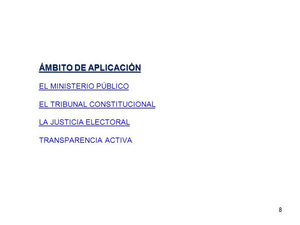ÁMBITO DE APLICACIÓN EL MINISTERIO PÚBLICO EL TRIBUNAL CONSTITUCIONAL