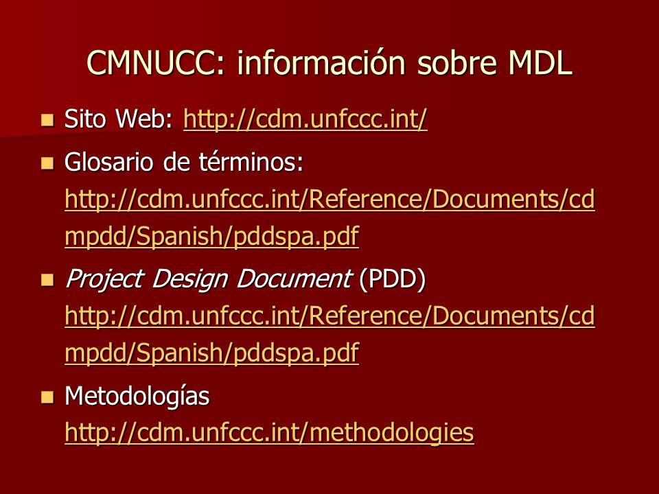 CMNUCC: información sobre MDL