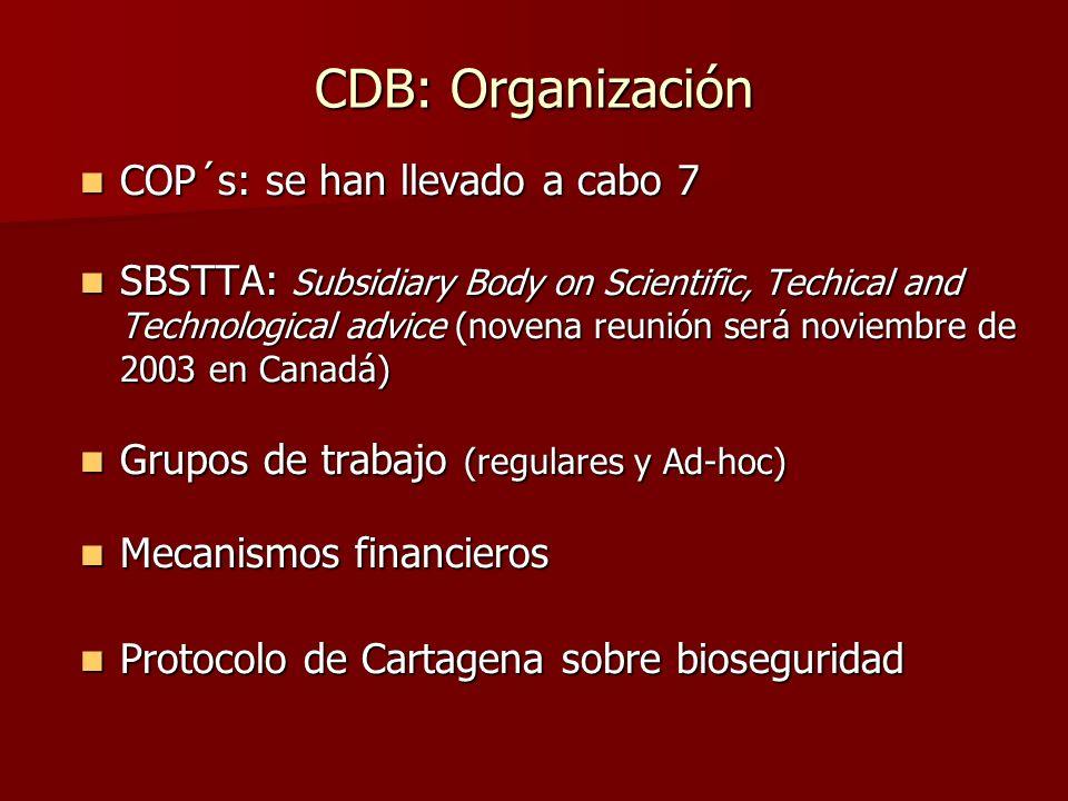 CDB: Organización COP´s: se han llevado a cabo 7