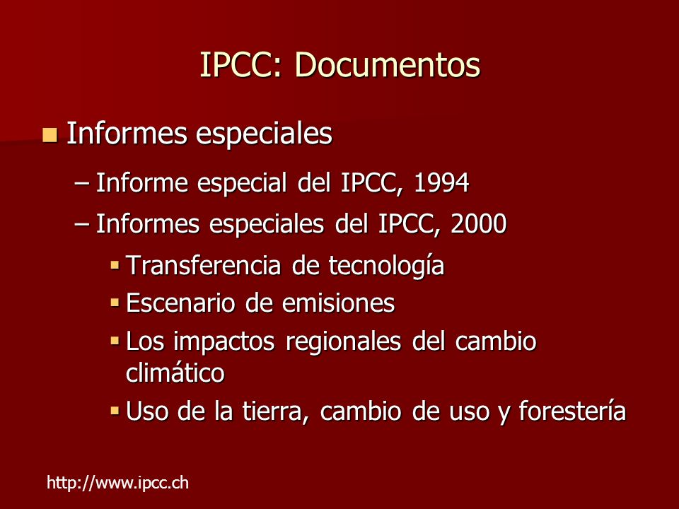 IPCC: Documentos Informes especiales Informe especial del IPCC, 1994