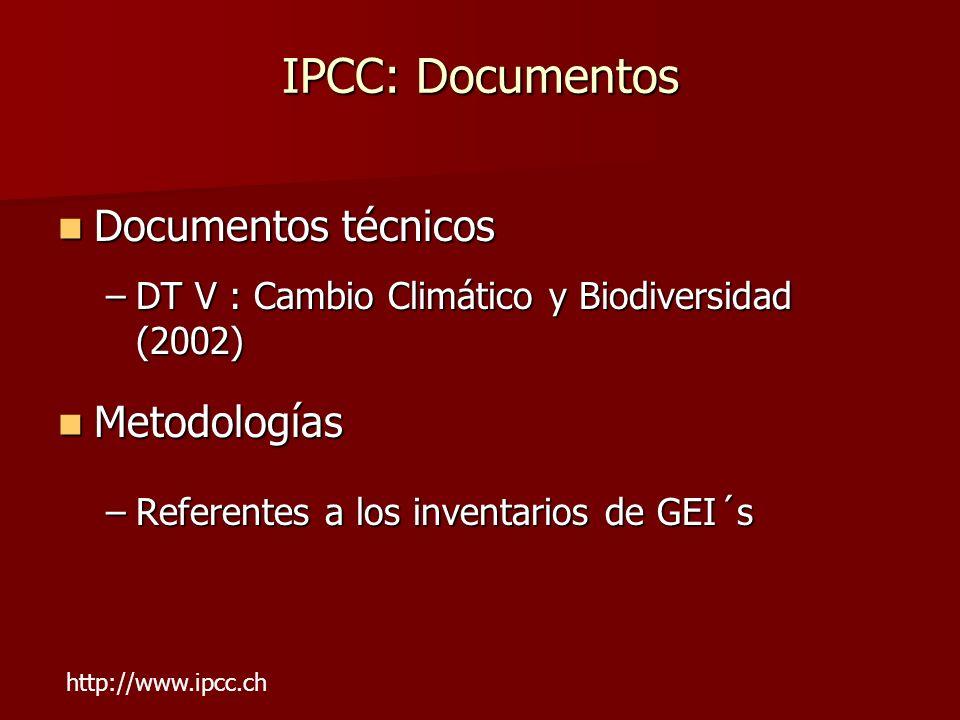 IPCC: Documentos Documentos técnicos Metodologías