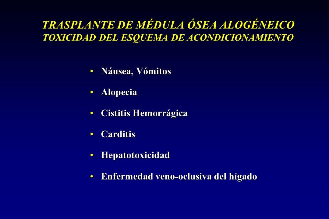 TRASPLANTE DE MÉDULA ÓSEA ALOGÉNEICO TOXICIDAD DEL ESQUEMA DE ACONDICIONAMIENTO
