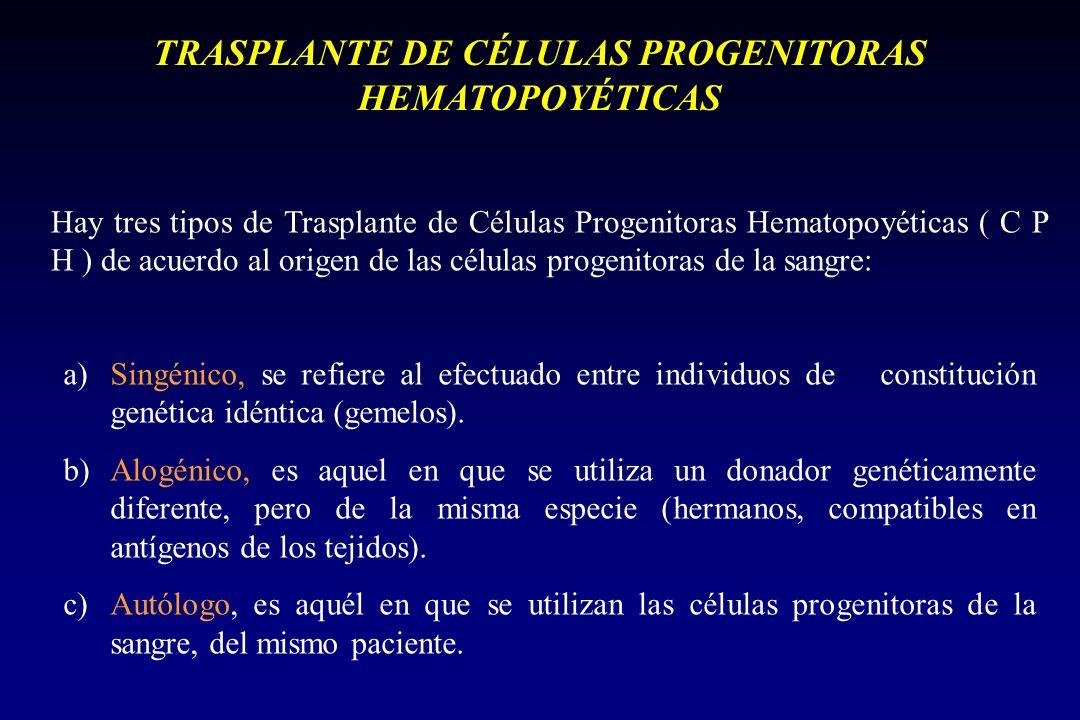 TRASPLANTE DE CÉLULAS PROGENITORAS HEMATOPOYÉTICAS