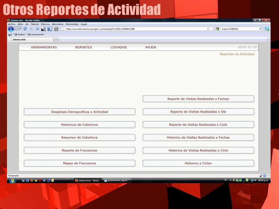 Otros Reportes de Actividad