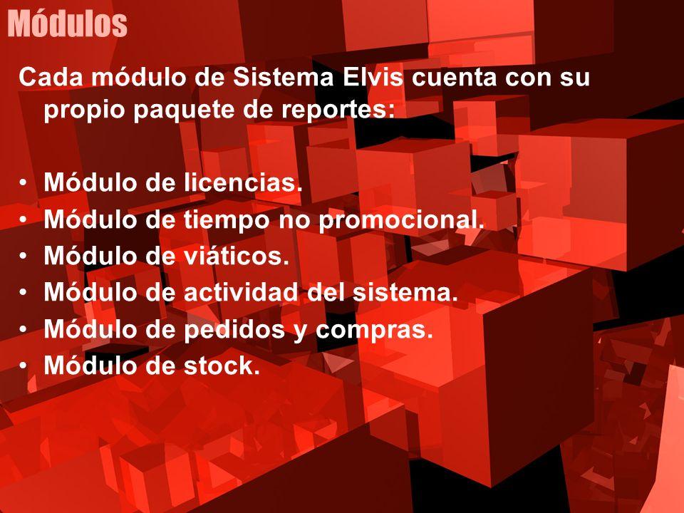 Módulos Cada módulo de Sistema Elvis cuenta con su propio paquete de reportes: Módulo de licencias.