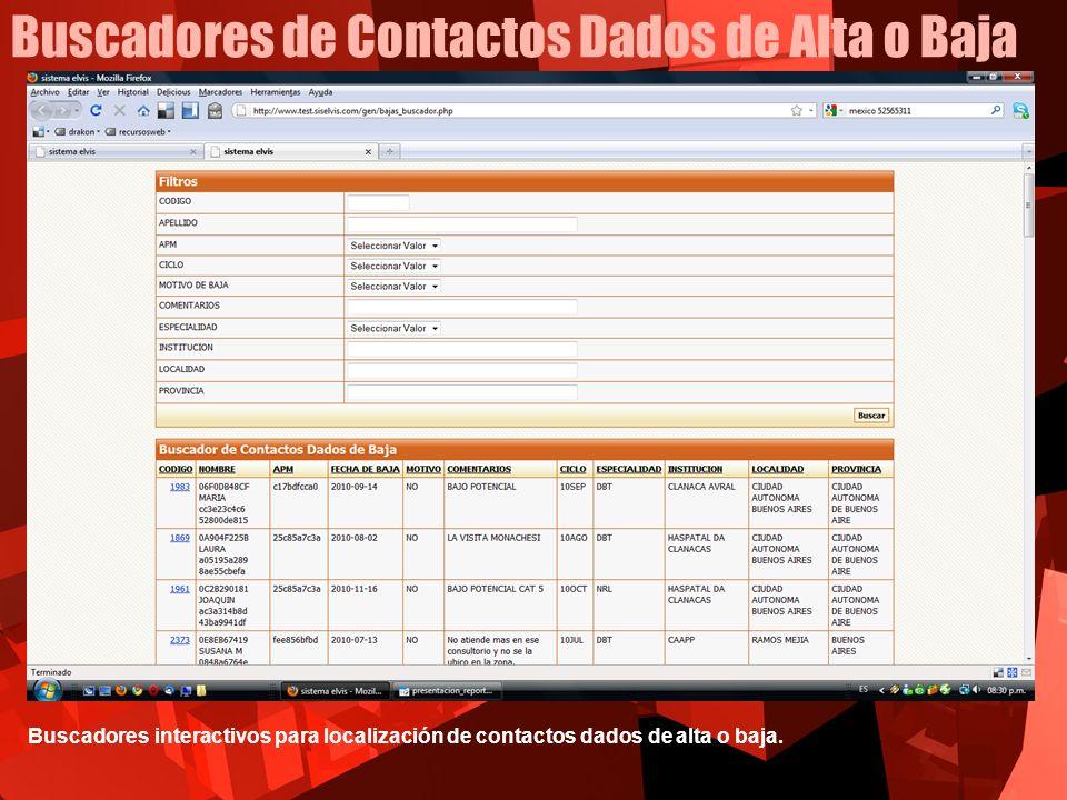 Buscadores de Contactos Dados de Alta o Baja