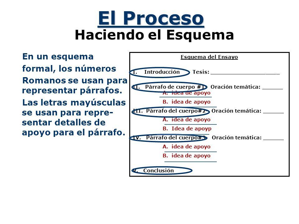 El Proceso Haciendo el Esquema En un esquema formal, los números