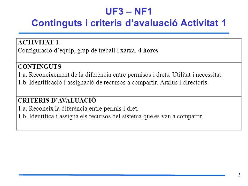 UF3 – NF1 Continguts i criteris d'avaluació Activitat 1