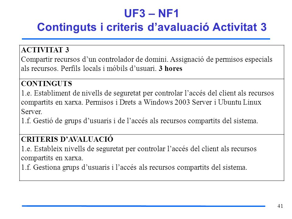 UF3 – NF1 Continguts i criteris d'avaluació Activitat 3