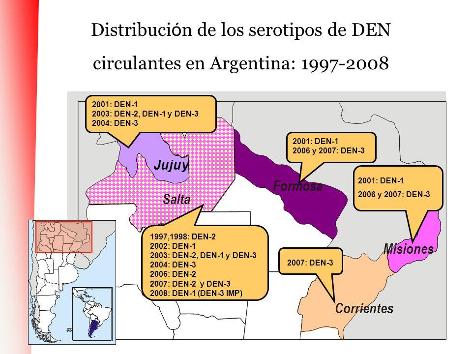 Distribución de los serotipos de DEN circulantes en Argentina: 1997-2008