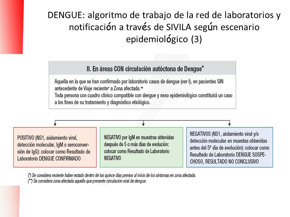 DENGUE: algoritmo de trabajo de la red de laboratorios y notificación a través de SIVILA según escenario epidemiológico (3)