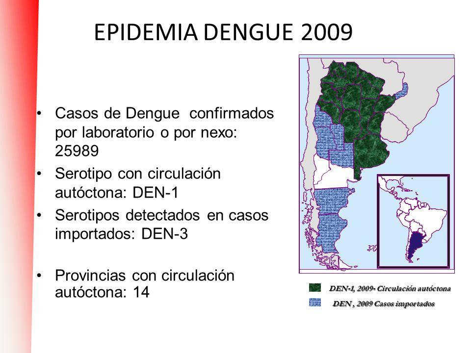 EPIDEMIA DENGUE 2009 Casos de Dengue confirmados por laboratorio o por nexo: 25989. Serotipo con circulación autóctona: DEN-1.