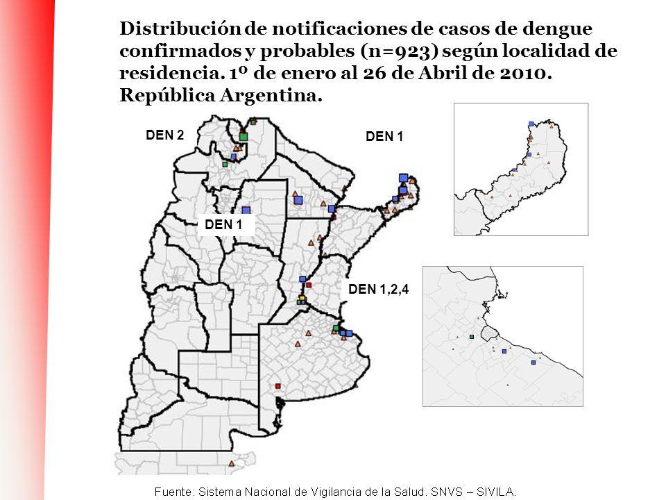 Distribución de notificaciones de casos de dengue confirmados y probables (n=923) según localidad de residencia. 1º de enero al 26 de Abril de 2010. República Argentina.