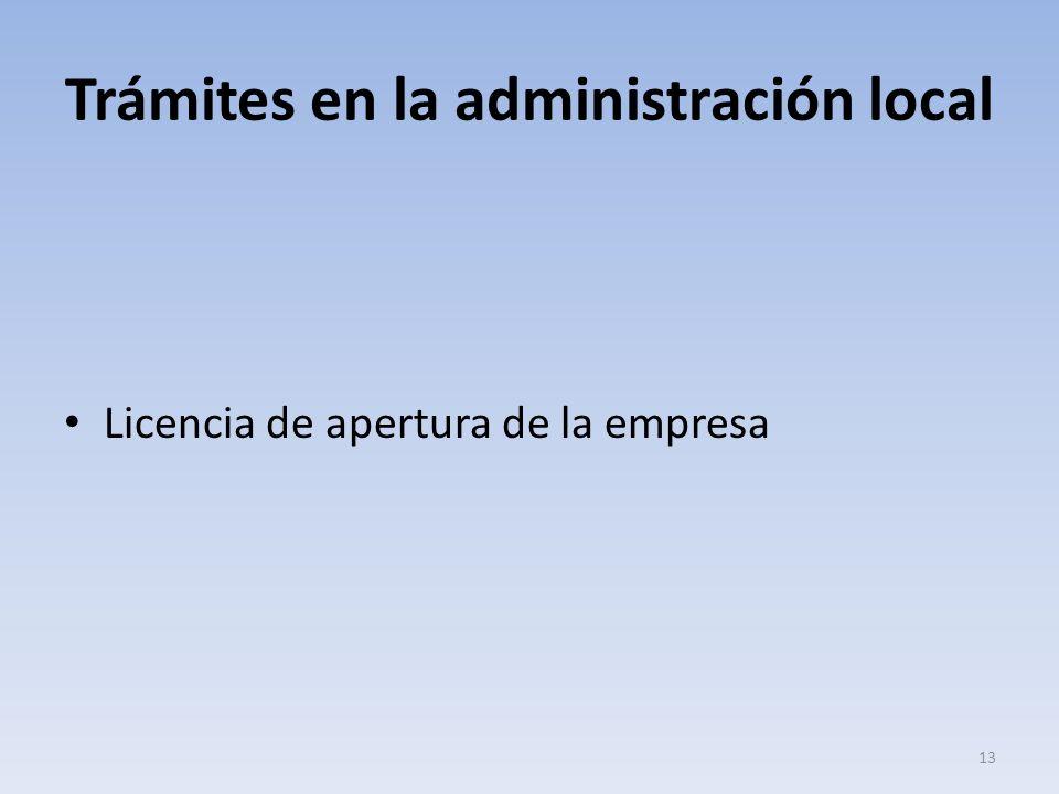 Trámites en la administración local