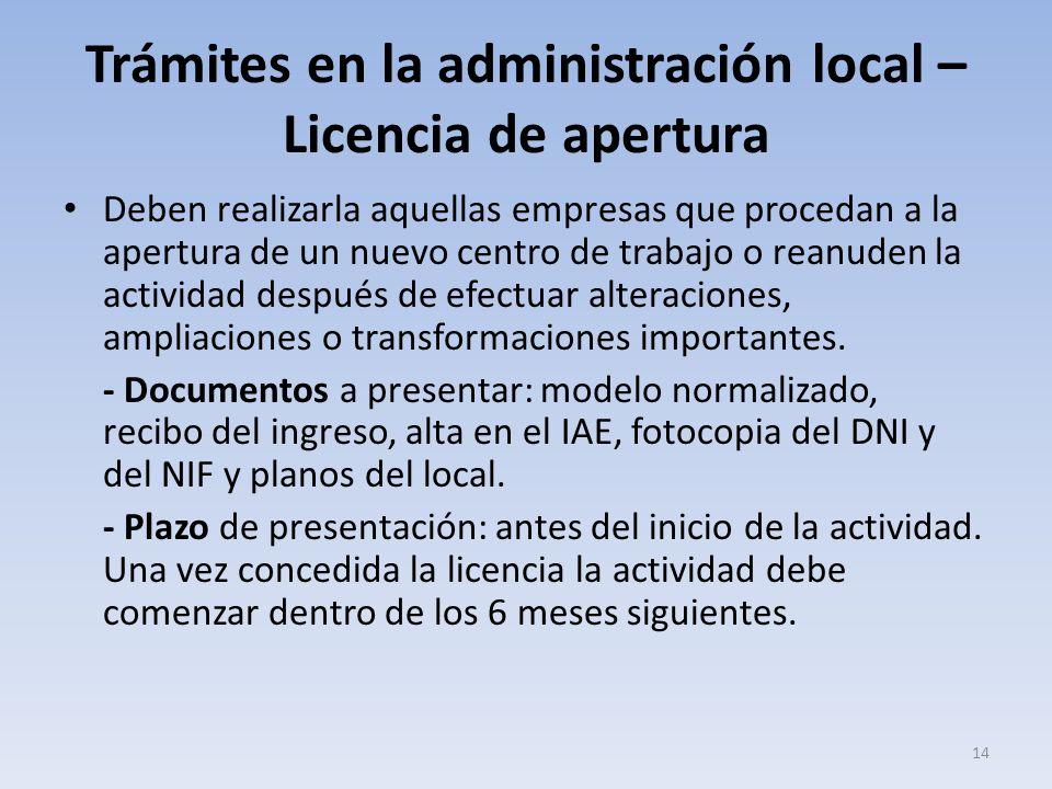 Trámites en la administración local – Licencia de apertura