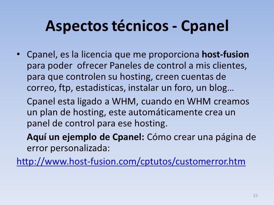 Aspectos técnicos - Cpanel