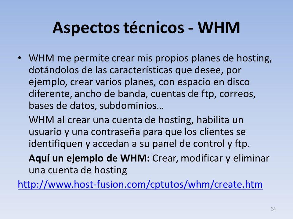 Aspectos técnicos - WHM