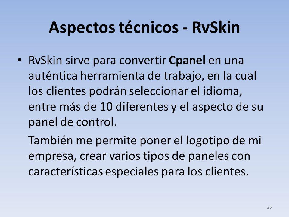 Aspectos técnicos - RvSkin