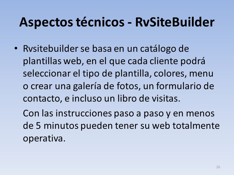 Aspectos técnicos - RvSiteBuilder