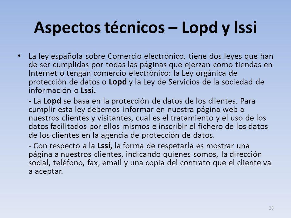 Aspectos técnicos – Lopd y lssi