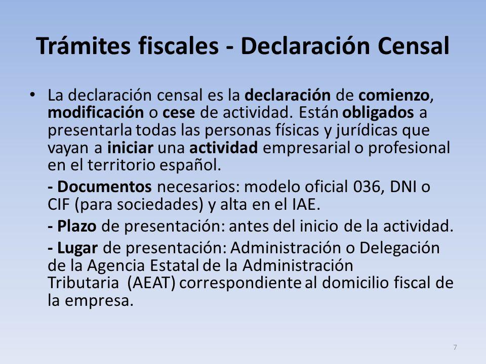 Trámites fiscales - Declaración Censal