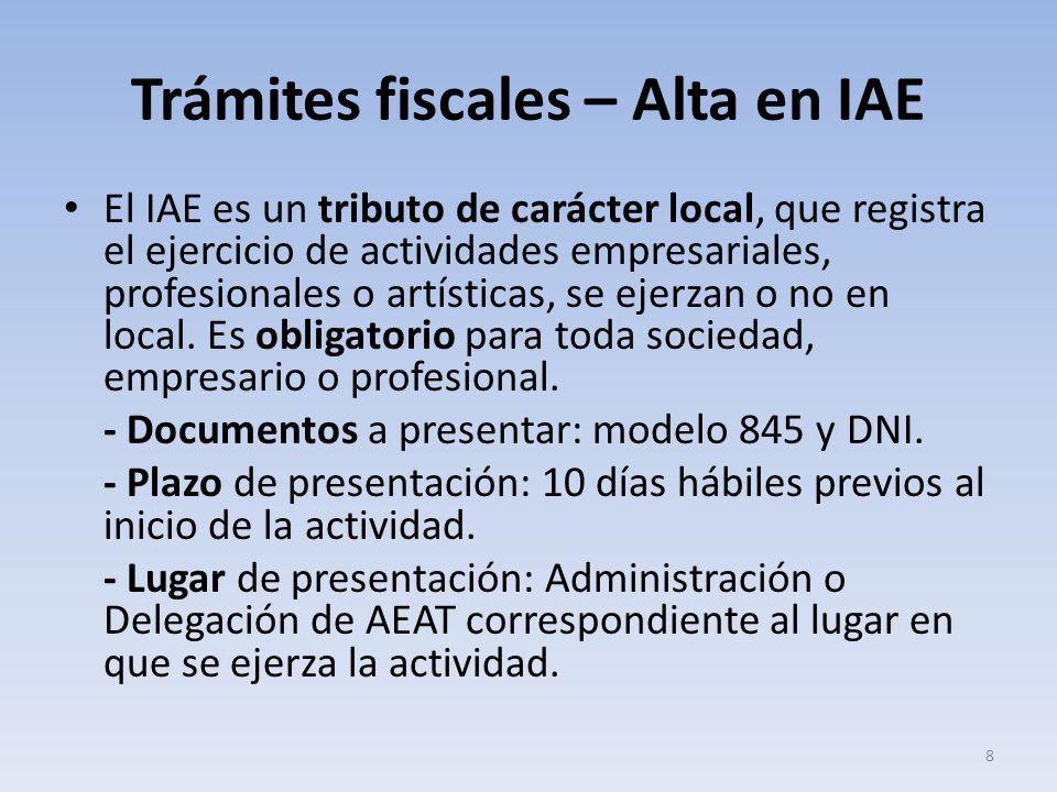 Trámites fiscales – Alta en IAE