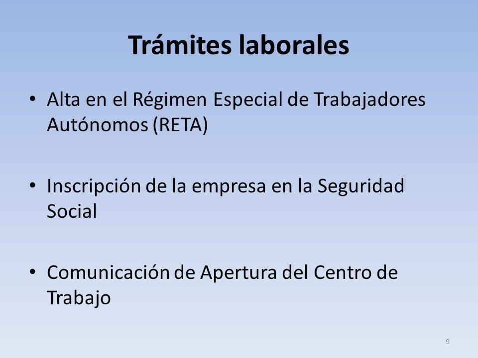 Trámites laborales Alta en el Régimen Especial de Trabajadores Autónomos (RETA) Inscripción de la empresa en la Seguridad Social.