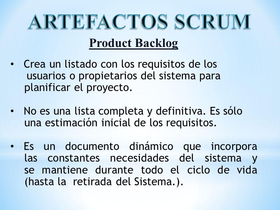 ARTEFACTOS SCRUM Product Backlog