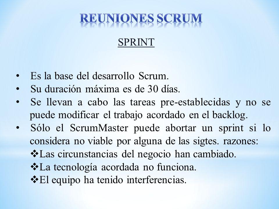 reuniones scrum SPRINT Es la base del desarrollo Scrum.