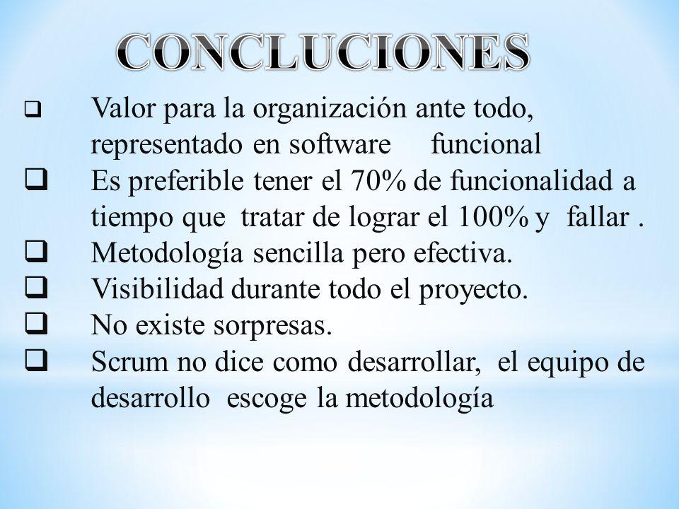 CONCLUCIONES Valor para la organización ante todo, representado en software funcional.