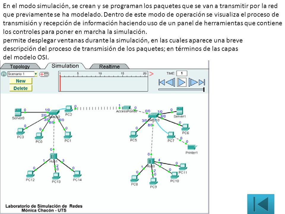 En el modo simulación, se crean y se programan los paquetes que se van a transmitir por la red que previamente se ha modelado. Dentro de este modo de operación se visualiza el proceso de