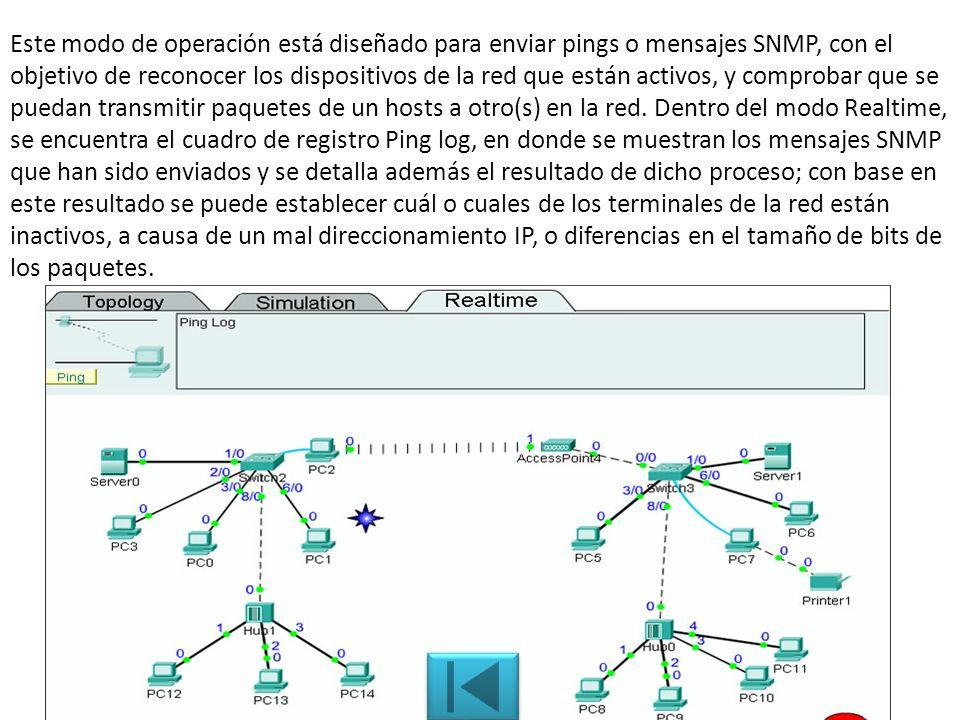 Este modo de operación está diseñado para enviar pings o mensajes SNMP, con el objetivo de reconocer los dispositivos de la red que están activos, y comprobar que se puedan transmitir paquetes de un hosts a otro(s) en la red.