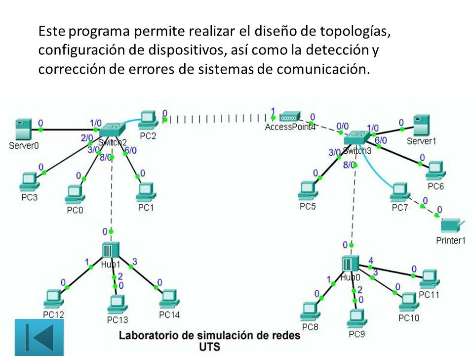 Este programa permite realizar el diseño de topologías, configuración de dispositivos, así como la detección y corrección de errores de sistemas de comunicación.