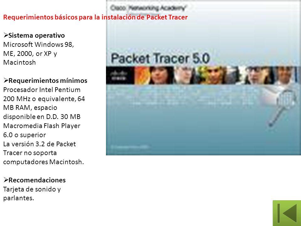 Requerimientos básicos para la instalación de Packet Tracer