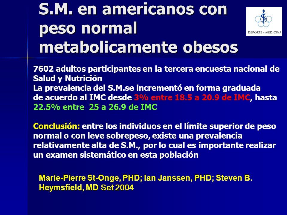 S.M. en americanos con peso normal metabolicamente obesos