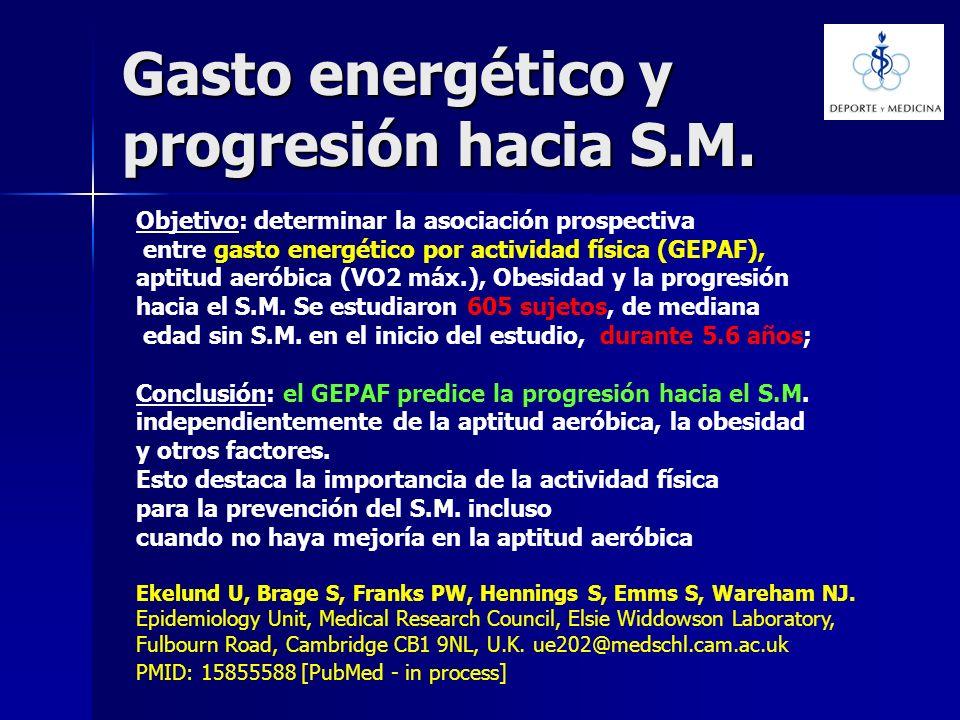 Gasto energético y progresión hacia S.M.