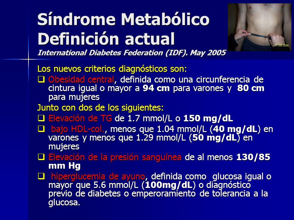 Síndrome Metabólico Definición actual International Diabetes Federation (IDF). May 2005