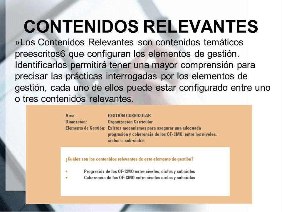 CONTENIDOS RELEVANTES