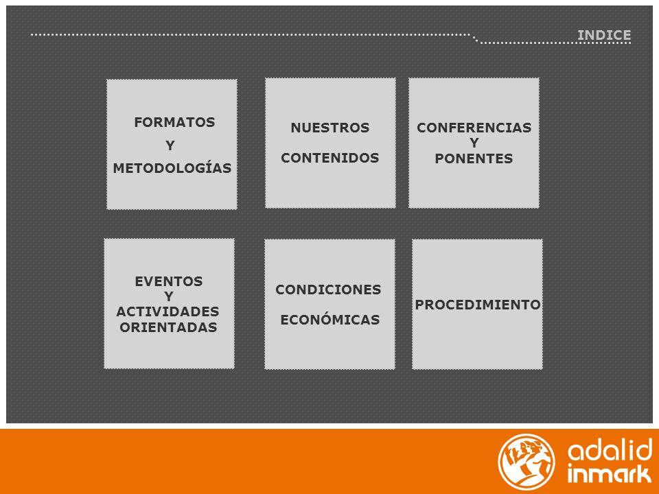 INDICE FORMATOS. Y. METODOLOGÍAS. NUESTROS. CONTENIDOS. CONFERENCIAS. Y. PONENTES. EVENTOS.