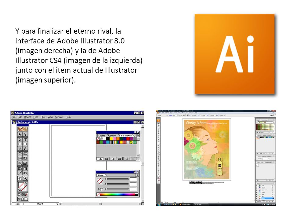 Y para finalizar el eterno rival, la interface de Adobe Illustrator 8