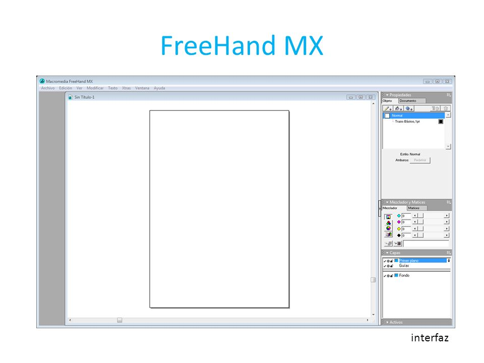 FreeHand MX interfaz
