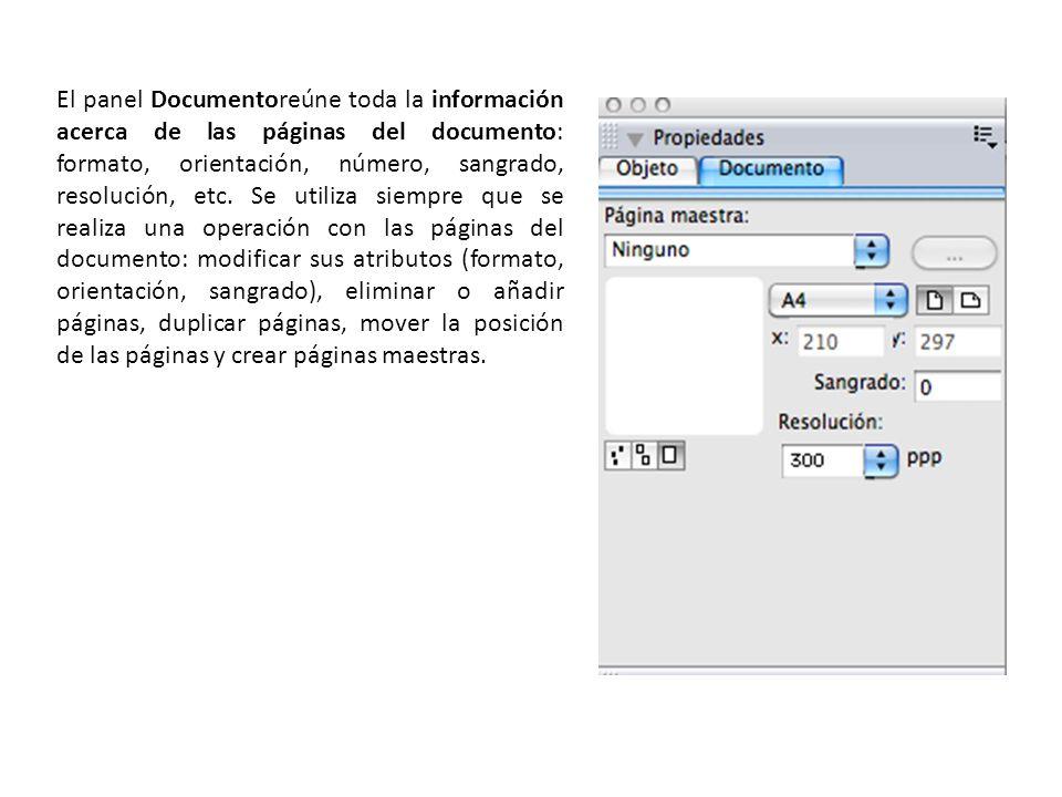 El panel Documentoreúne toda la información acerca de las páginas del documento: formato, orientación, número, sangrado, resolución, etc.