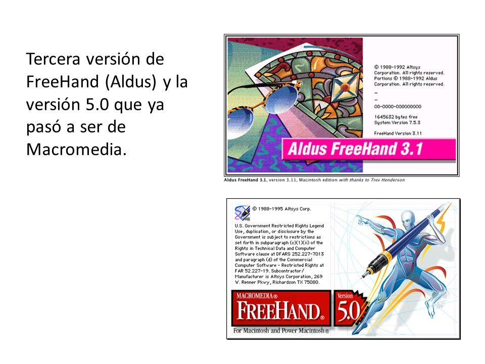 Tercera versión de FreeHand (Aldus) y la versión 5