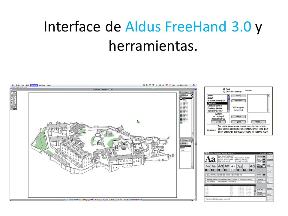 Interface de Aldus FreeHand 3.0 y herramientas.