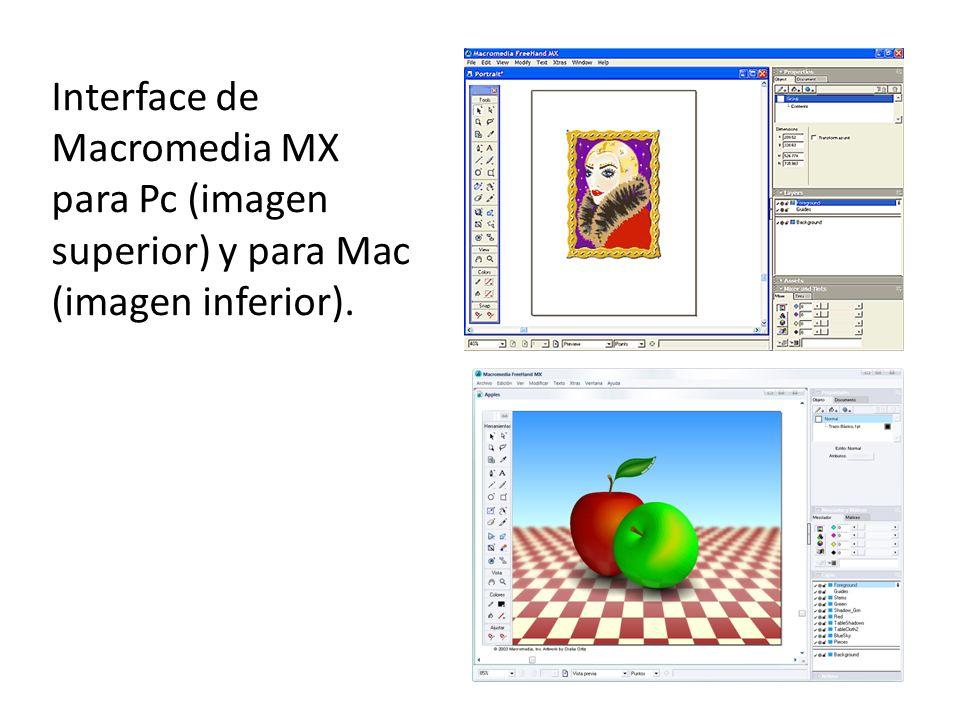 Interface de Macromedia MX para Pc (imagen superior) y para Mac (imagen inferior).