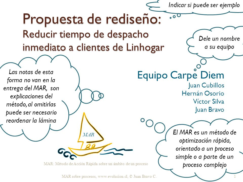 Equipo Carpe Diem Juan Cubillos Hernán Osorio Víctor Silva Juan Bravo
