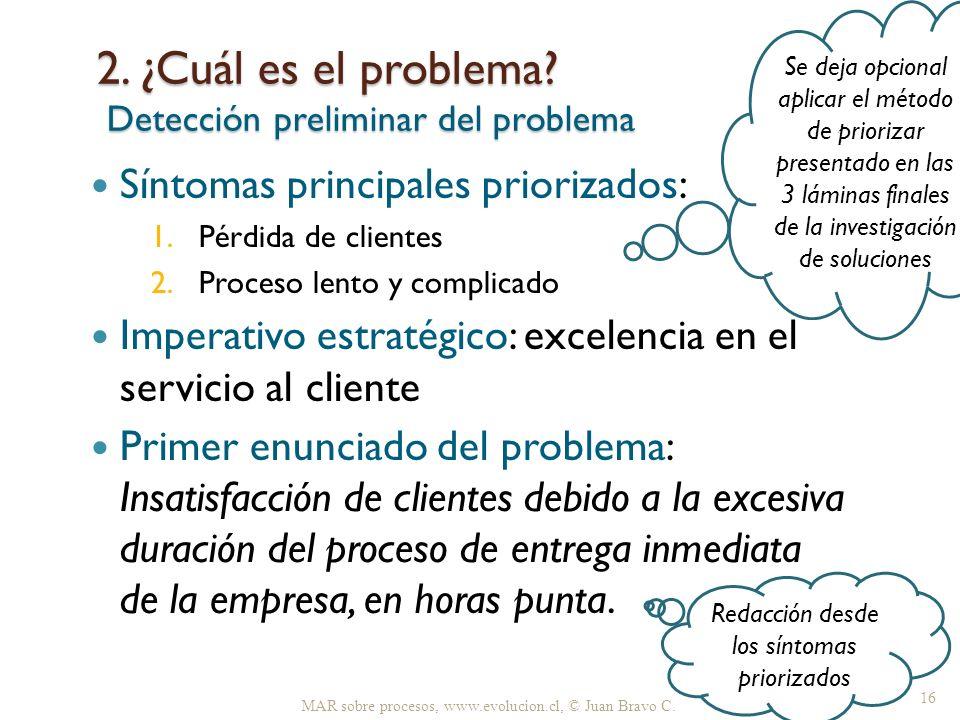 2. ¿Cuál es el problema Detección preliminar del problema