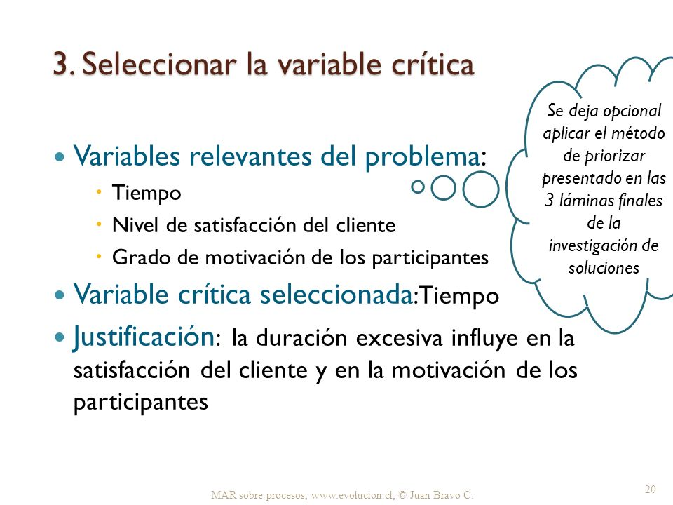 3. Seleccionar la variable crítica