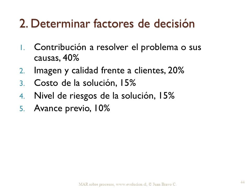 2. Determinar factores de decisión